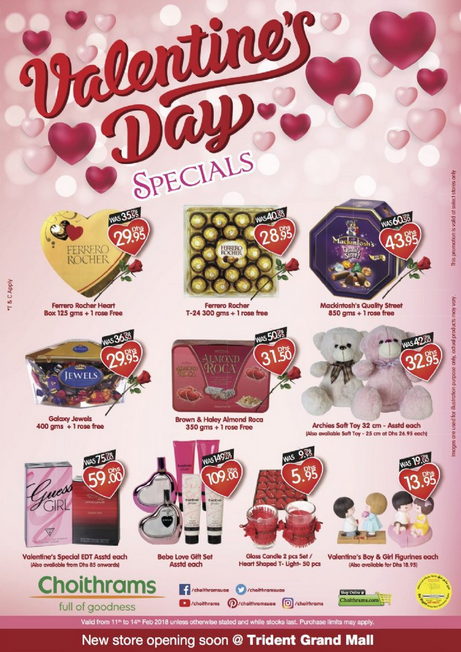 Choithrams - Valentine's Day specials. Valid from 11th to 14th Feb 2018 unless otherwise stated and while stocks last.