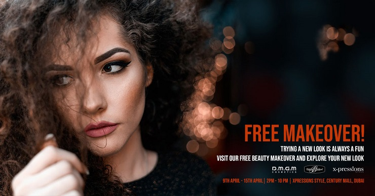 Free beauty makeover only at Xpressions Style, Century Mall, Dubai. From 9th April - 15th April, 2 pm to 10 pm daily.  No registration needed. Customers can simply walk-in for a free makeover. This free makeover is available only at Xpressions Style, Century Mall, Dubai
