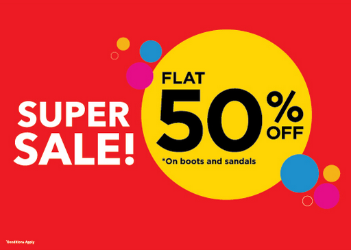 Shoe Mart - Super Sale! Flat 50% off on boots and sandals. Visit your nearest Dubai store before it's too late!