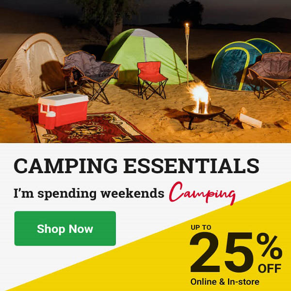 Planning a trip to the desert this weekend. Get 25% on Camping Essentials - camping gear, tents & more online & in-store @ ACE. Offer valid from 18th Feb – 6th March 2021