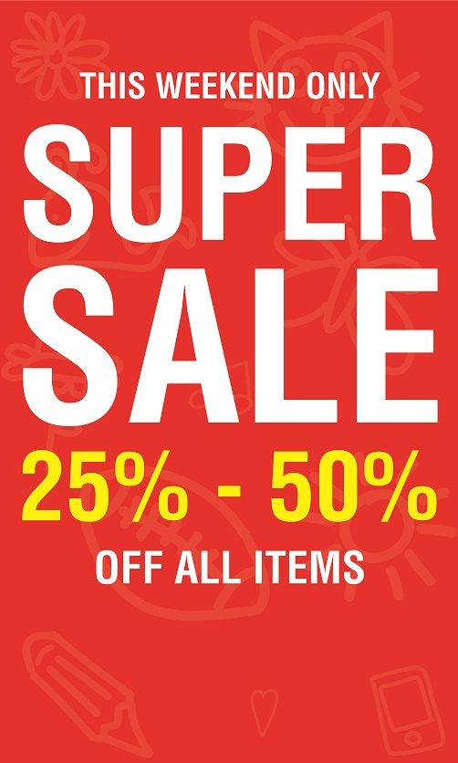 Pitter Patter - Super Sale. 25% to 50% off all items. Promotion valid from: 10th May – 12th May. Store location: Pitter Patter, The Dubai Mall.