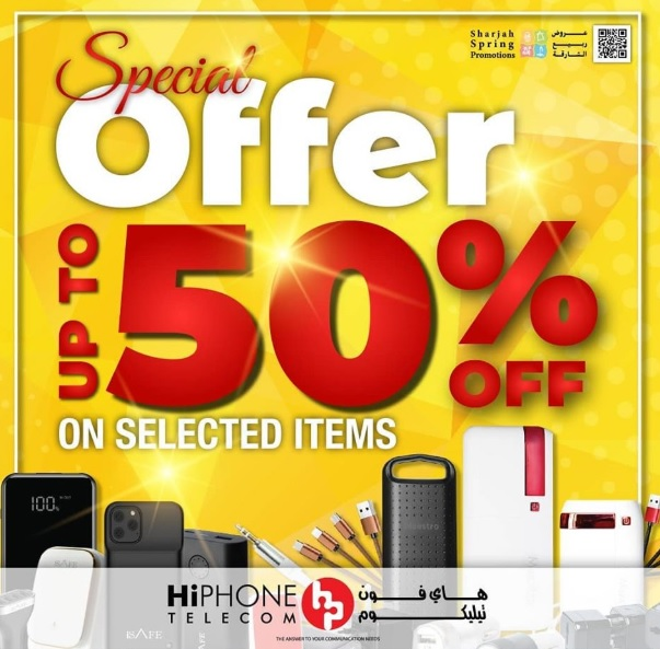 Sharjah Spring Promotions have begun.   Enjoy up to 50% off on selected accessories ranging from power banks, mobile covers and ear phones at HiPHONE Telecom branches in Mega Mall, City Centre Sharjah and Sahara Centre.