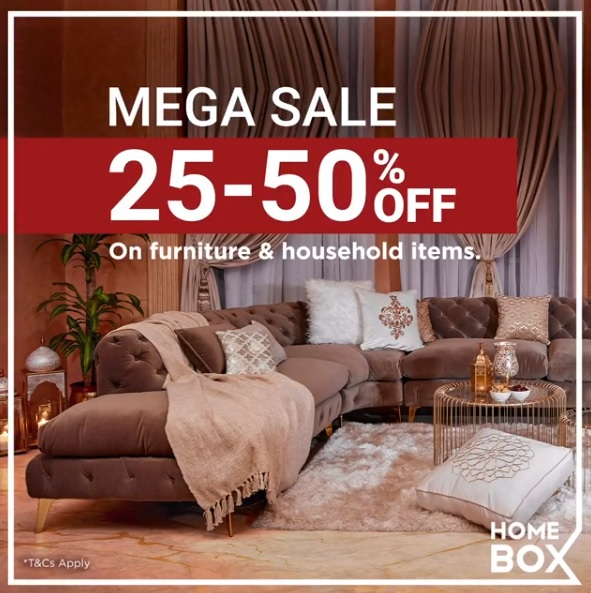 HOME BOX MEGA SALE. 25% to 50% OFF on your favorite furniture and household items.