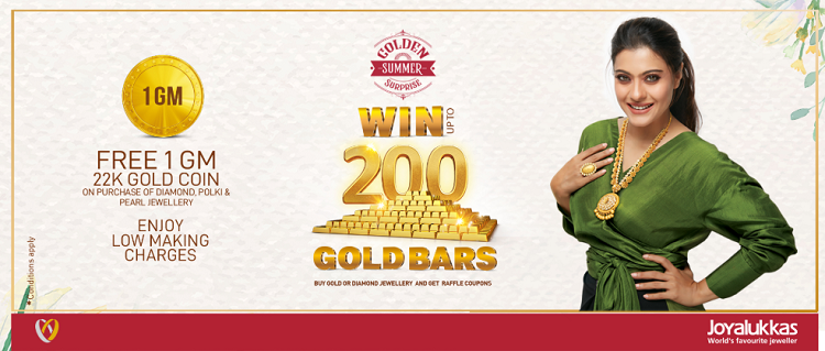 JOYALUKKAS 'GOLDEN SUMMER SURPRISE' OFFER. Spend AED 500 and get 1 raffle coupon for gold jewellery purchase and 2 coupons for diamond jewellery purchase.   Get Free 1 gram Gold coin on purchase of Diamond, Polki & Pearl jewellery worth AED 3000. Enjoy low making charges.  Promotion Period:  30th May to 17th August 2019. *Terms and Conditions apply