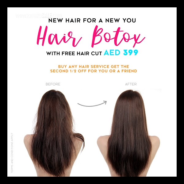 Mirrors Beauty Lounge - Hair Botox with Free Haircut AED 399. Buy any hair service get the second 1/2 Off for you or a Friend.  T&C apply