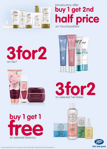 Boots Pharmacy promotions. Valid until December 25