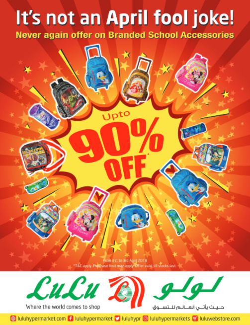 LuLu - Up to 90% OFF on branded school accessories. Offer until 3rd April.