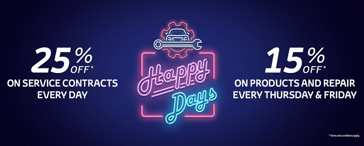 Enjoy Toyota Happy Days.  The end of the week is always a happy time for all of us.  At Toyota, we've made it even happier for you. Book your visit on Thursday or Friday and enjoy 15% off Products and Repair!  What's more, every day of the week you can benefit from a whopping 25% off service contracts!  Come, get your car serviced and be happy.  *Terms and Conditions Apply