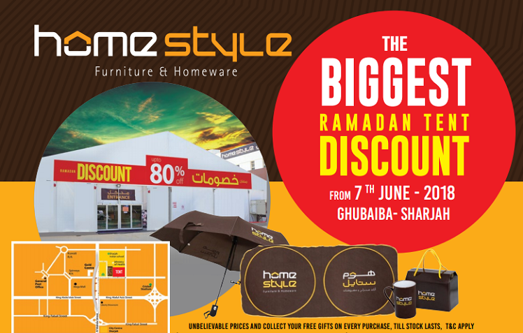 Home Style - The Biggest Ramadan Tent Discount. Home Style Tent Sale at Ghubaiba branch only. Offer valid till stock last.