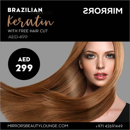 Mirrors Beauty Lounge - Brazilian Keratin with free hair cut AED 299.