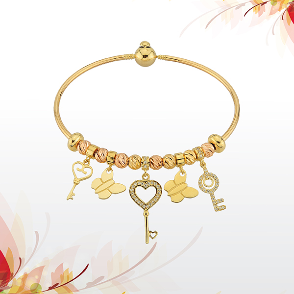 Liali Jewellery - Gold Bracelet: 18K Gold Charming Bracelet featuring fun charms and trinkets, starting at AED 1025.