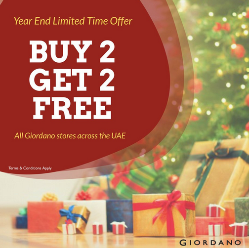 Giordano - Year end limited time offer. Buy 2 Get 2 Free. All Giordano stores across UAE. T&C apply.