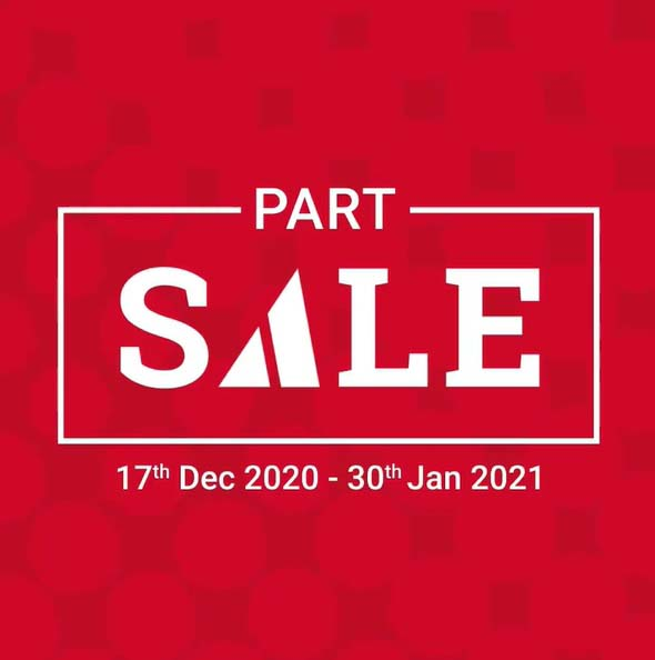 ACE Part Sale. Get up to 75% OFF your favourite brands & products across all categories. Offer valid from 17th December 2020 to 30th January 2021.