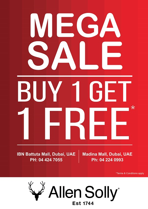 Allen Solly - Mega Sale. Buy 1 Get 1 Free. T&C apply.
