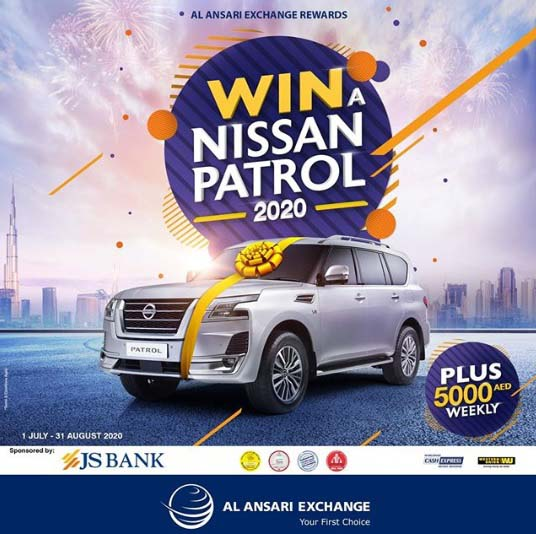 WIN A NISSAN PATROL 2020 WITH AL ANSARI EXCHANGE! Simply make any qualifying transaction and register in the Al Ansari Exchange Mobile App for a chance to win a brand new NISSAN PATROL 2020, in addition to AED 5,000 in weekly cash prizes.  The more transactions you make… the higher your chances of winning! Promotion Period: July 1 –  August 31, 2020