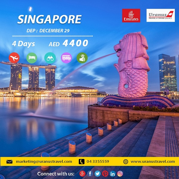 SINGAPORE.  4 Days. AED 4400. Dep: December 29. Package Includes – Flights, 4* Hotel, Tours, Transfers, Breakfast, Tour Guide & Taxes