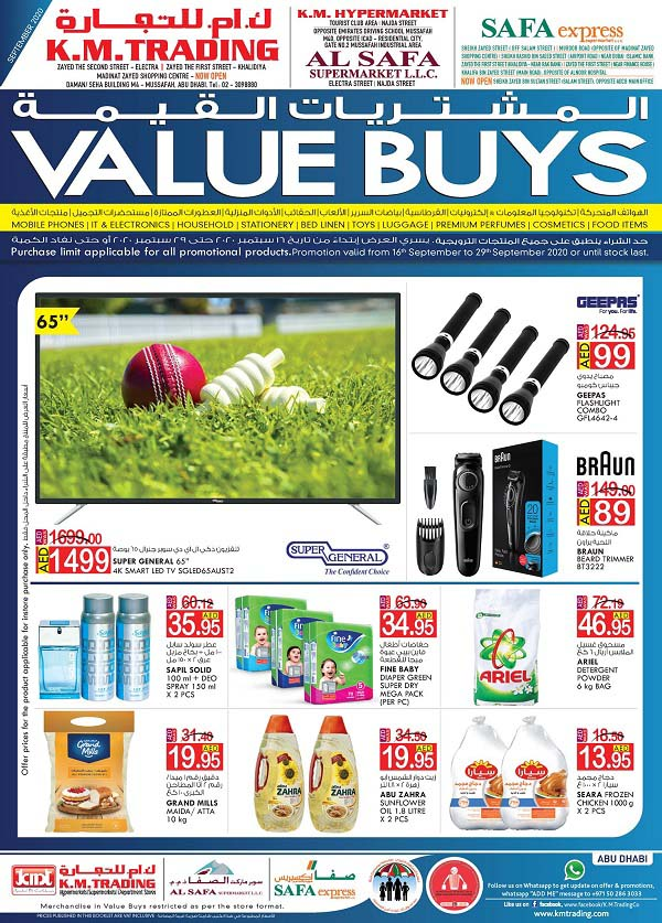 K.M. TRADING Value Buys.  Offer valid from 16th September to 29th September 2020 - Abu Dhabi Edition.