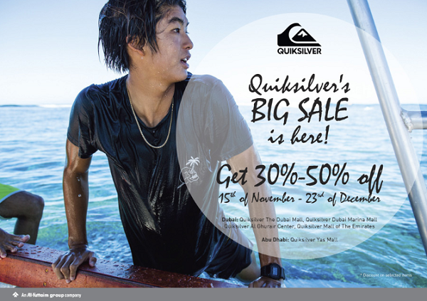 30% - 50% discount at Quiksilver's big sale between 15th November and 23rd December.