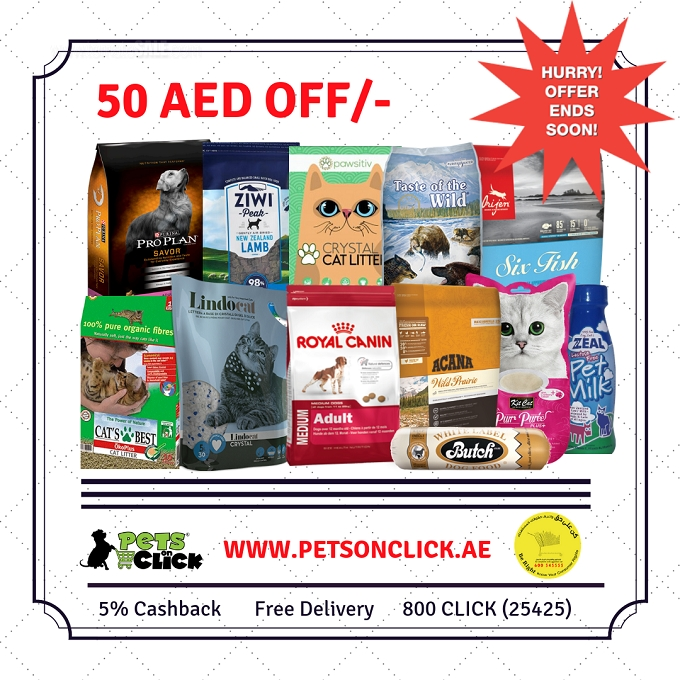 50 AED OFF to all customers who will purchase with a minimum order amount of 300 AED from our online store www.petsonclick.ae. In order to get 50 AED discount each customer should purchase the products above 300 AED and should use coupon code 50SALE. In addition to this there is 5% cashback as well as free delivery. This offer is applicable to the online customers only. T&C apply.