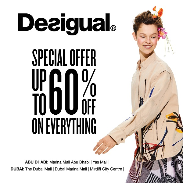 Desigual - Special Offer. Up to 60% off on everything. Offer valid from 10th - 12th May 2018.