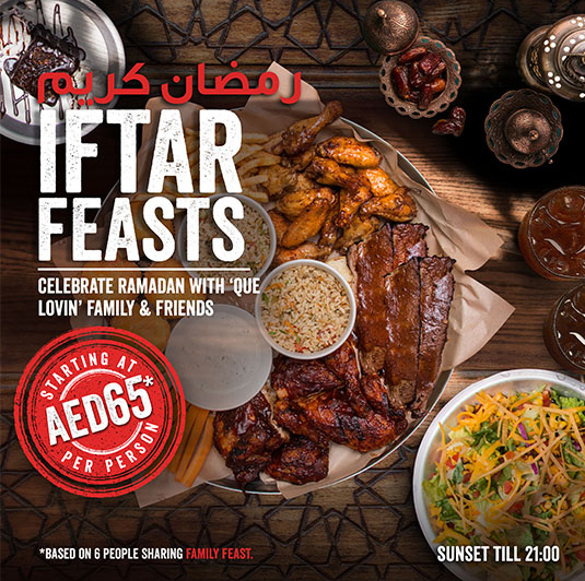 Famous Dave's - Iftar Feasts. Starting at AED 65 per person.