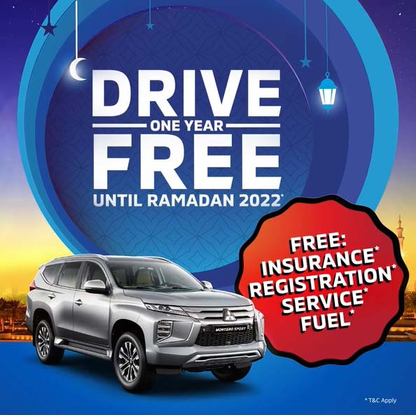 Amazing Ramadan Offer! Drive your Mitsubishi one year FREE until Ramadan 2022. Get free Insurance, Registration, Service and Fuel. T&C Apply.