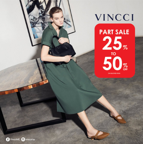 Enjoy up to 50% OFF shoes and handbags at the Vincci Sale from September 25th. Offer valid on selected lines. T&C apply
