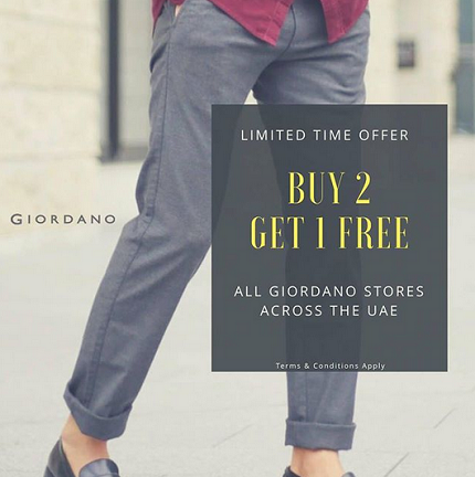 Limited time offer. Buy 2 Get 1 Free. All Giordano stores across the UAE. T&C apply