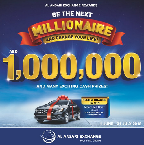 Al Ansari Exchange - Summer Promotion 2018. Simply send money or make any qualifying transaction through any of Al Ansari Exchange branches across the UAE and get the chance to be Al Ansari Exchange's NEXT MILLIONAIRE or win other exciting cash prizes worth more than AED 90,000. Moreover, conduct a second qualifying transaction to enter the bonus electronic draw to win a Mercedes-Benz GLA-Class 2018. Promotion period: 1 June till 31 July 2018. T&C apply.