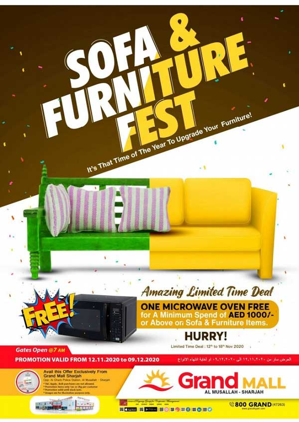 Sofa & Furniture Fest @ Grand Mall Al Musallah - Sharjah. Promotion valid from 12th November to 9th December 2020