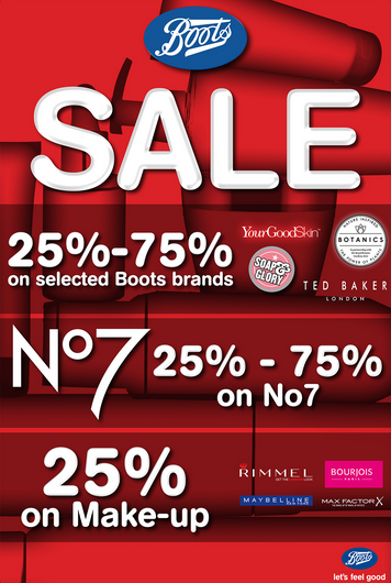 Boots Pharmacy - SALE. 25% - 75% on selected Boots brands. 25% - 75% on No7. 25% on make-up.