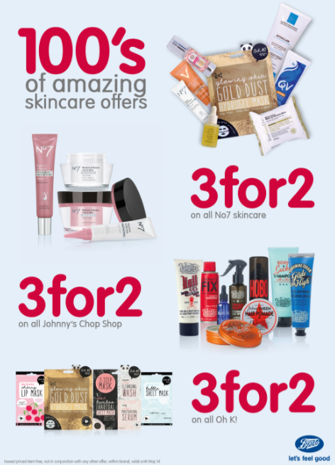 Boots Pharmacy promotions. Valid until May 14