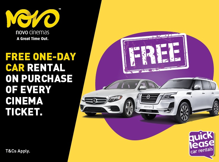 Win a free ONE-DAY car rental from Quicklease on purchase of every cinema ticket. Limited time offer, hurry and book your tickets now! Valid at all Novo UAE locations.