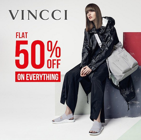 VINCCI - Flat 50% off on everything for 3 days only. Offer valid from 23rd to 25th of November, across UAE.