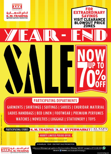 K.M. Trading Year-End Sale. Now up to 70% Off. Hurry! Limited period offer.