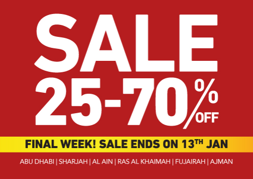 Home Centre - Sale 25% to 70% Off. Last few days, Sale Ends on 13th Jan. Valid in:     Abu Dhabi, Sharjah, Al Ain, Ras Al Khaimah, Fujairah, Ajman