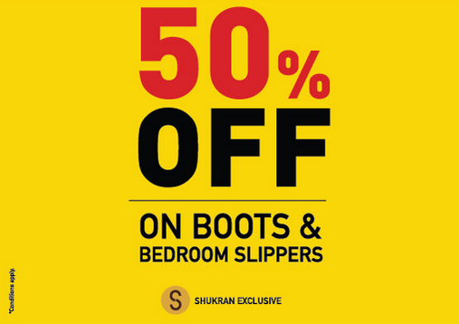 Shoe Mart - Calling all savvy shoppers! 50% Off on boots and bedroom slippers. Valid in: Dubai. Expires on: 24 Feb 2018.