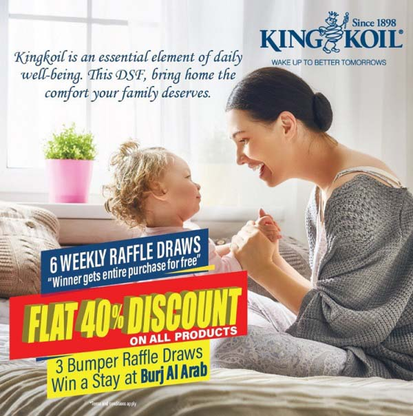 Festive sale. Get a whopping 40% discount on all products at King Koil.