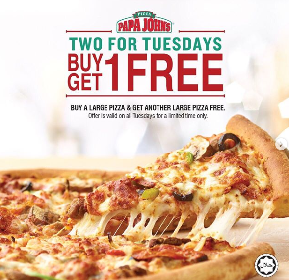 Papa John's Pizza - Buy a large pizza & get another large pizza free. Offer is valid on all Tuesdays for a limited time only.