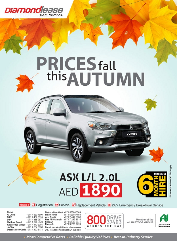 Diamondlease Car Rental Autumn Promotion. Mitsubishi ASX_Compact Crossover with Bluetooth & Cruise Control. Book this drive at just AED 1890 pm.