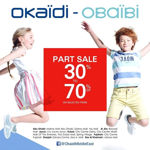 Okaidi Obaibi - Part Sale 30% to 70% off on selected items. Dubai stores: June 22 - August 4. Other Emirates: June 20 - July 19.