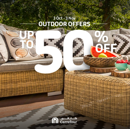 Outdoor Offers. Enjoy up to 50% OFF on garden furniture, BBQs & grills, camping essentials, and so much more! Shop online or at any Carrefour Hypermarket until the 3rd of November.