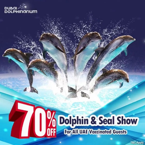 Dubai Dolphinarium gives 70% Off on Dolphin & Seal Show for all visitors vaccinated against COVID-19 in UAE