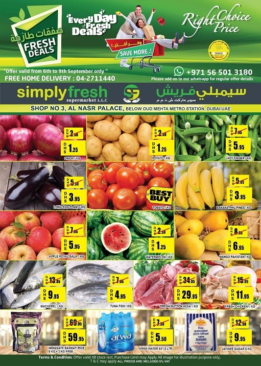 Simplyfresh Supermarket - Fresh Deals. Offer valid from 6th to 9th September 2018.