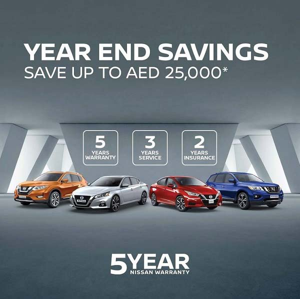 The Nissan Year End Sale is back! This year, get incredible value on your favorite Nissan model. You can save up to AED 25,000.