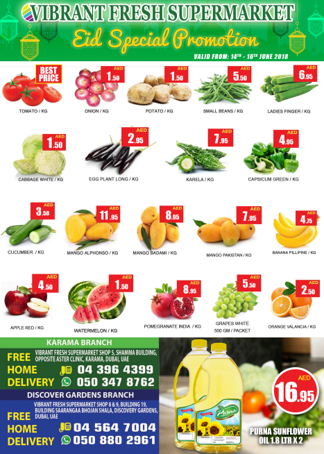 Vibrant Fresh Supermarket - Eid Special Promotion. Offer valid from 14th - 16th June 2018