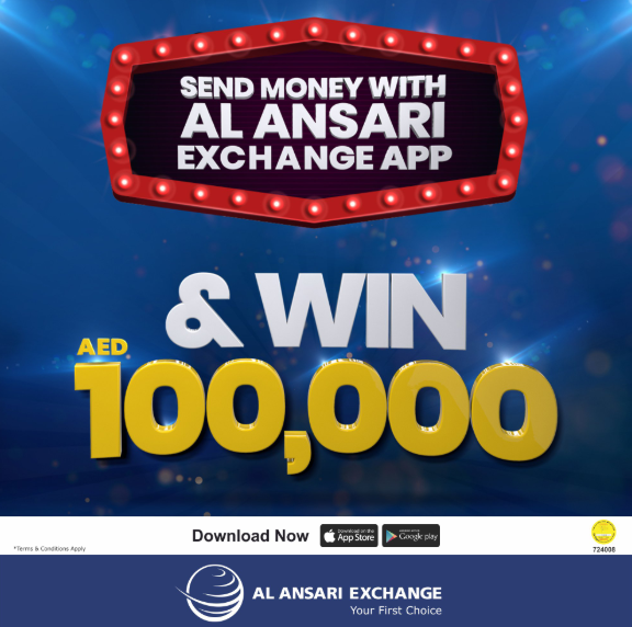 Send money online with Al Ansari Exchange Mobile App and get a chance to win AED 100,000. Promotion Period: 01 Apr 2019 – 24 May 2019. Draw Date: The draw will be held on 03 June 2019