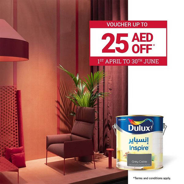 Get your new Dulux paint now and you will receive a voucher of Up to AED 25 Off to be redeemed on your next purchase in all UAE ACE stores. T&C's Apply