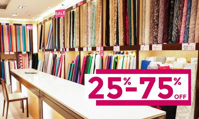 DSF SALE 25%-75% off. Enjoy 25%-75% off on Exquisite Fabrics, Fancy Sarees, Salwar suits, Men's collection, and accessories at select Regal Dubai stores from 26th December to 30th January.