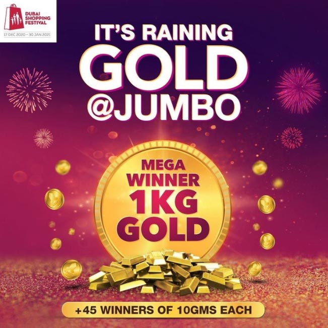 This Shopping Festival, it's raining gold @ Jumbo with irresistible deals, great discounts and A LOT of freebies!  Buy from Jumbo and get a chance to be the Mega Winner of 1KG Gold!